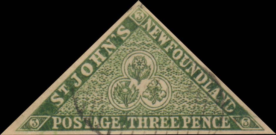 Newfoundland_1857_3p_Triangle_Oneglia_Forgery