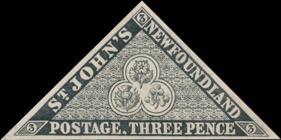 Newfoundland_1857_3p_Triangle_Proof_Genuine