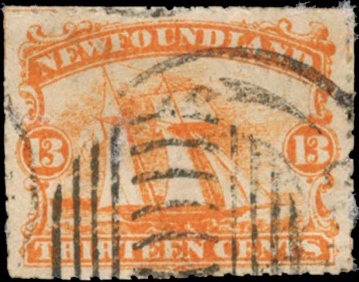 Newfoundland_1866_Schooner_13c_Spiro_Forgery