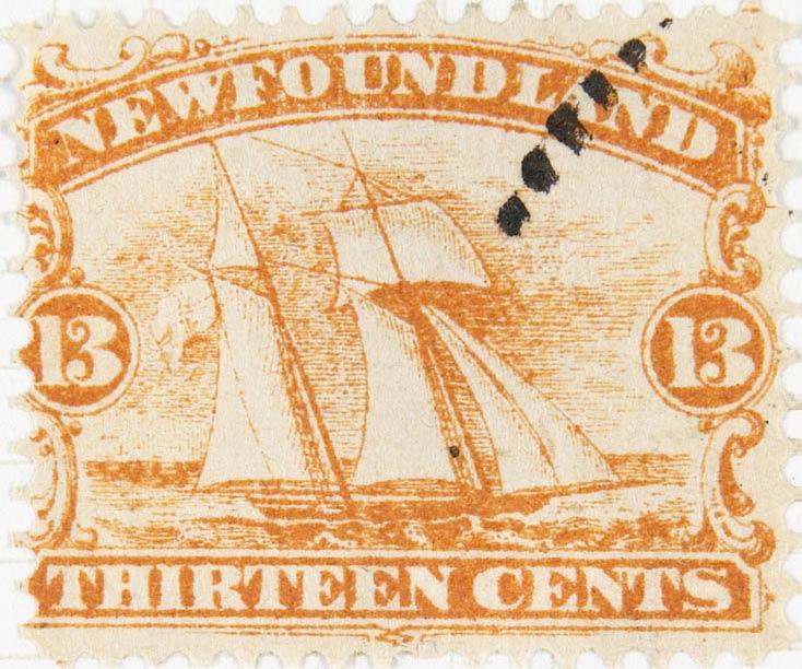 Newfoundland_1866_Schooner_13c_Spiro_Forgery2