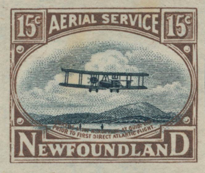Newfoundland_1922_Biplane_Essay_15c_Unperforated_Genuine