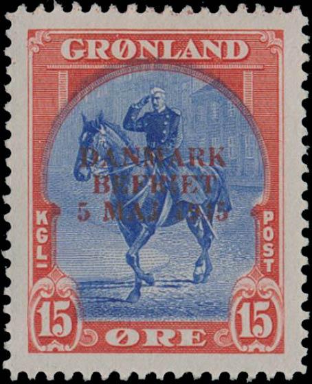 Greenland_1945_15ore_Genuine_Overprint