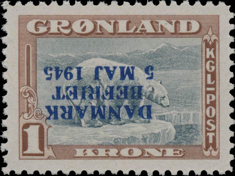 Greenland_1945_1kr_Bogus_Inverted_Overprint