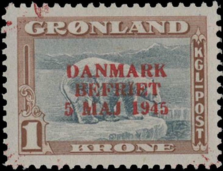 Greenland_1945_1kr_Genuine_Overprint