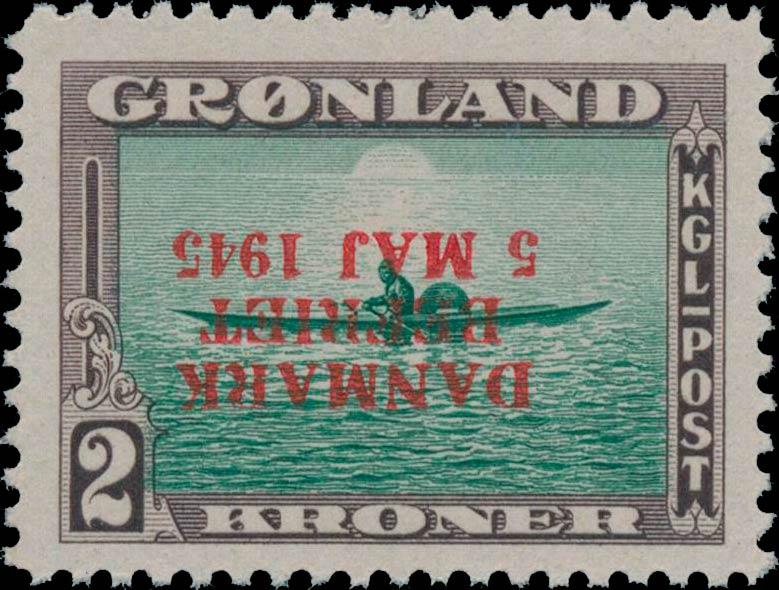 Greenland_1945_2kr_Bogus_Inverted_Overprint