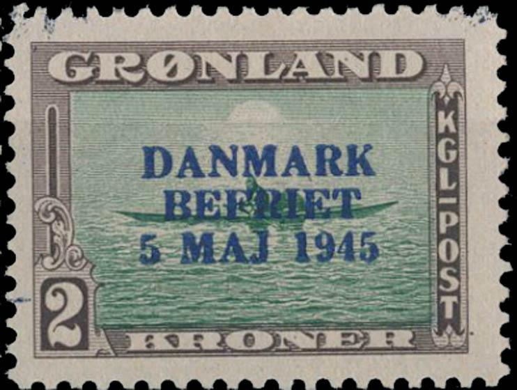 Greenland_1945_2kr_Bogus_Overprint