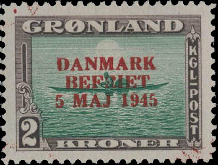 Greenland_1945_2kr_Genuine_Overprint