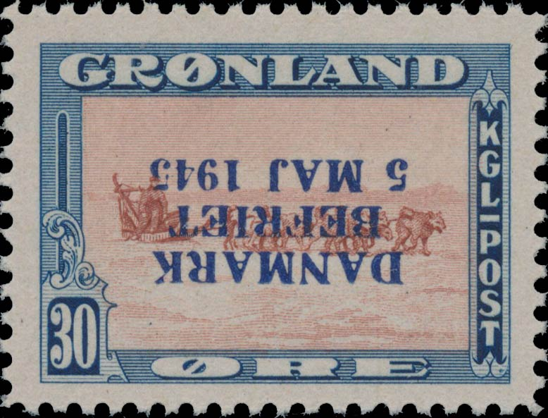Greenland_1945_30ore_Bogus_Inverted_Overprint