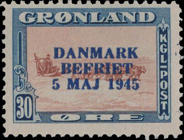 Greenland_1945_30ore_Genuine_Overprint