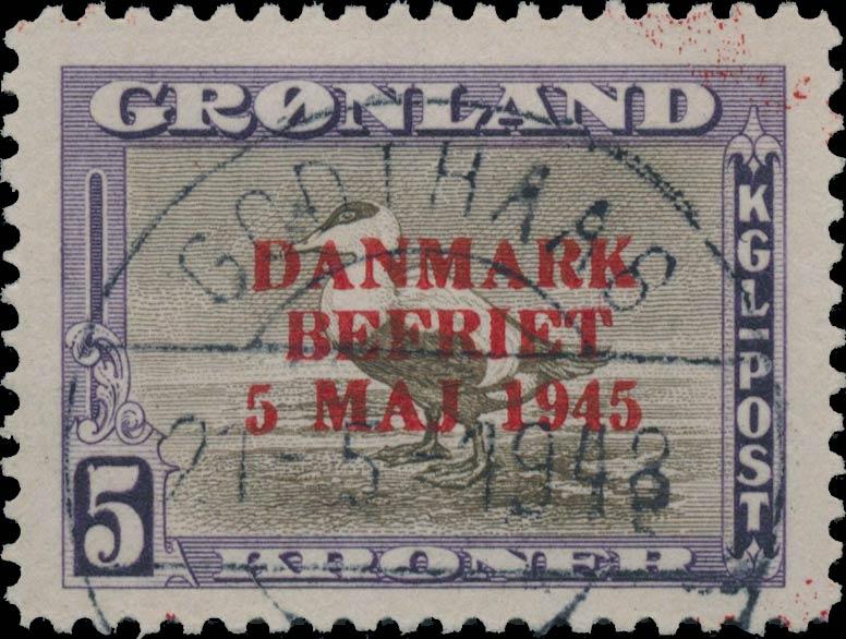 Greenland_1945_5kr_Bogus_Overprint