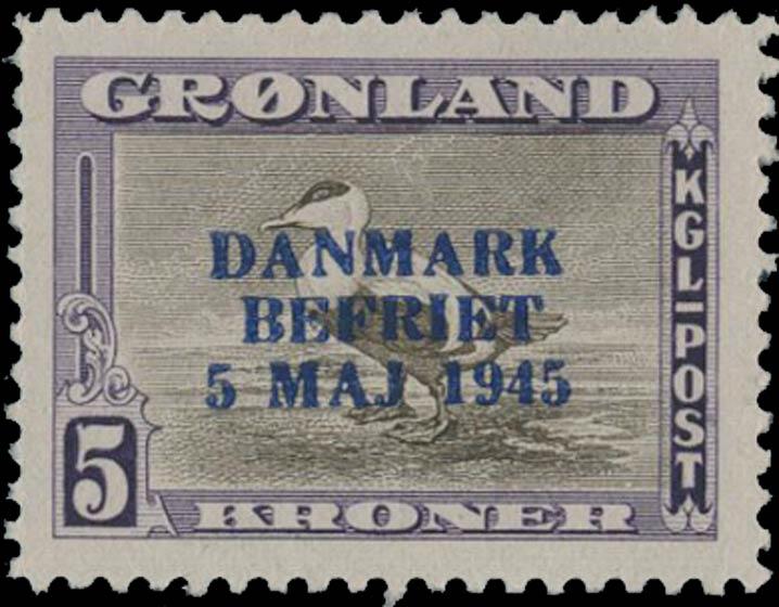 Greenland_1945_5kr_Genuine_Overprint
