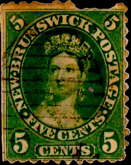 New_Brunswick_5c_Queen_Victoria_Genuine