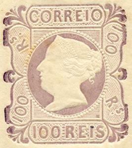 Portugal_1853_MariaII_100reis_1863-reprint