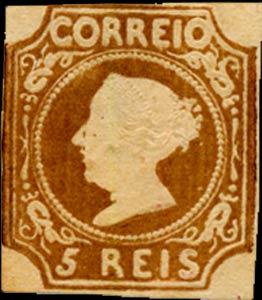 Portugal_1853_MariaII_5reis_1863-reprint