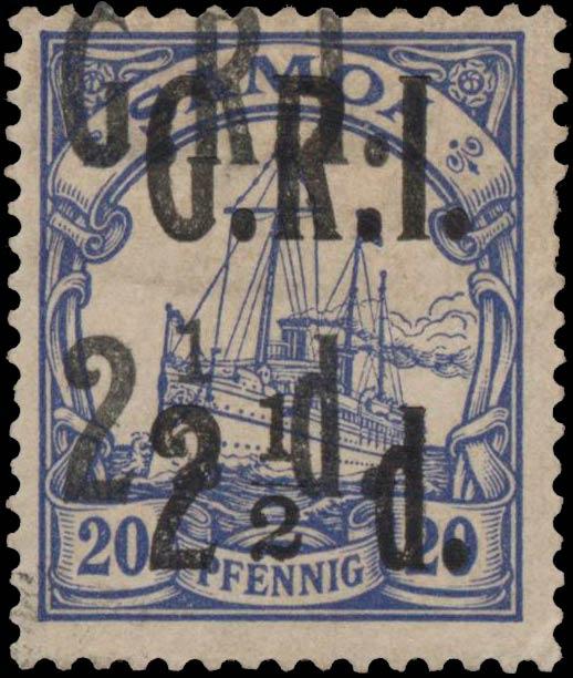 Samoa_GRI_2halfd-20pf_Doubel_Overprint_Genuine
