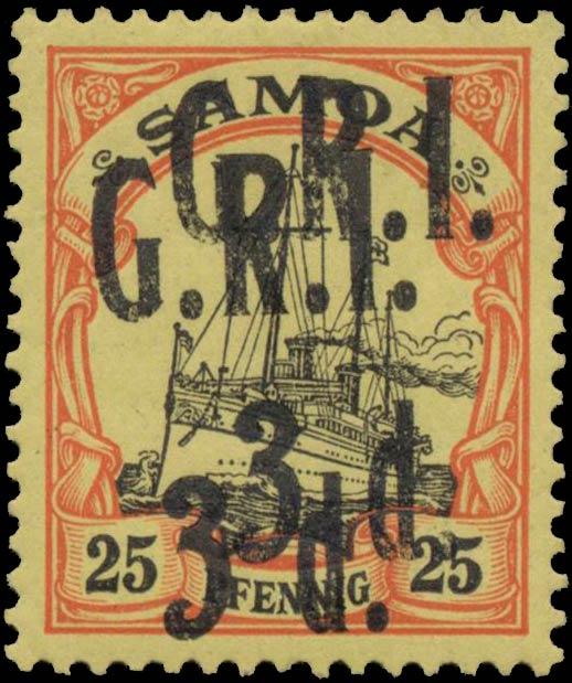 Samoa_GRI_3d-25pf_Double_Overprint_Genuine