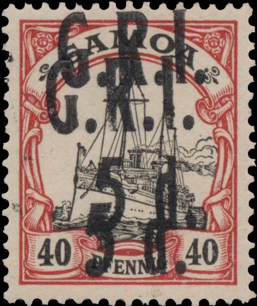 Samoa_GRI_5d-40pf_Doubel_Overprint_Genuine