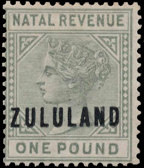 Zululand_1891_Natal_Revenue_QV_1pound_Genuine