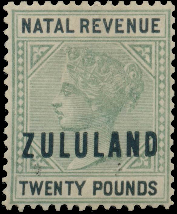 Zululand_1891_Natal_Revenue_QV_20pounds_Genuine