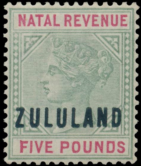 Zululand_1891_Natal_Revenue_QV_5pounds_Genuine