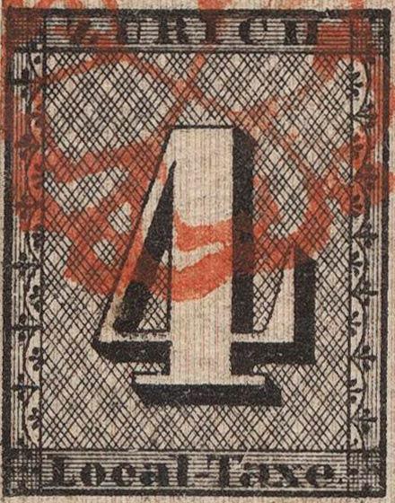 Zurich_1843_4rp_vertical-lines_type1_Genuine
