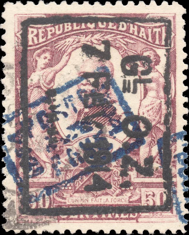 Haiti_1914_50c_Surcharged_Forgery