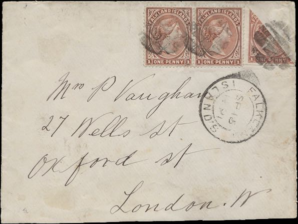 Falkland_Islands_1891_QV_Bisect_Cover_Genuine