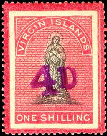 British_Virgin_Islands_1888_St.Ursula_Surcharged_4d_Genuine