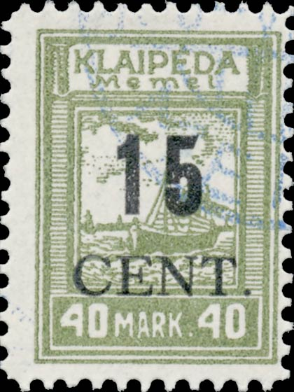 Memel_Klaipeda_1923_15c_on_40m_Forgery
