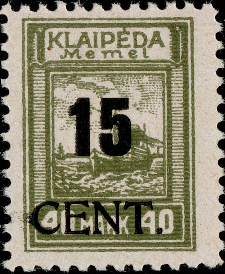 Memel_Klaipeda_1923_15c_on_40m_Genuine
