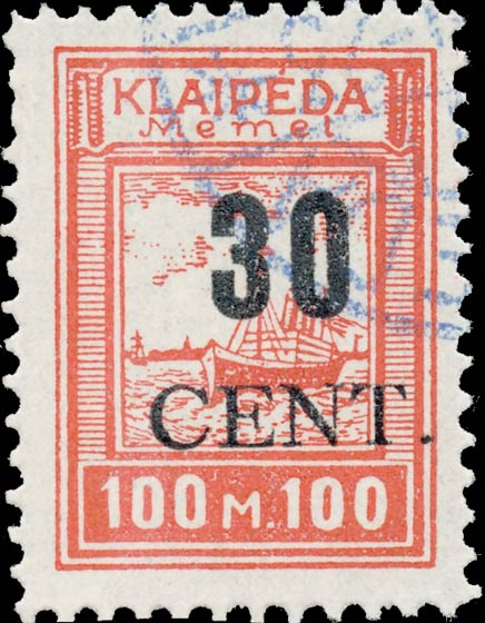 Memel_Klaipeda_1923_30c_on_100m_Forgery