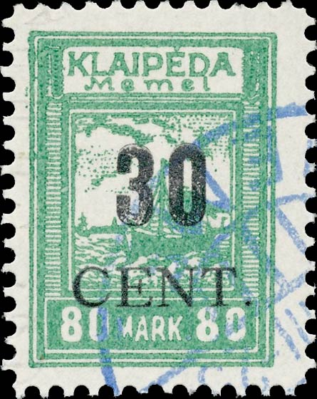 Memel_Klaipeda_1923_30c_on_80m_Forgery