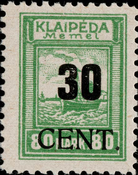 Memel_Klaipeda_1923_30c_on_80m_Genuine
