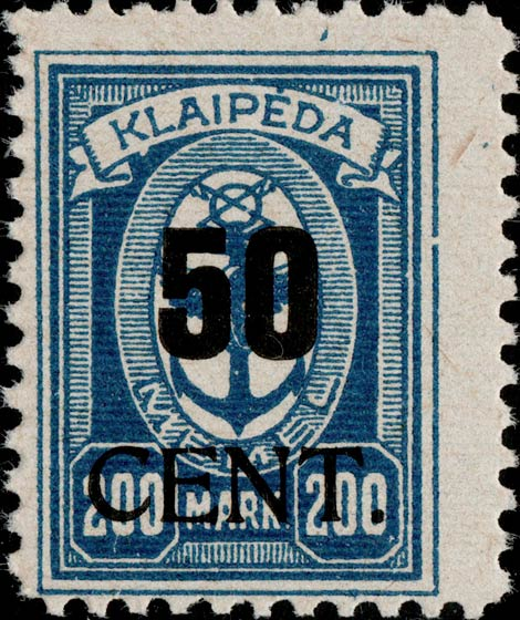 Memel_Klaipeda_1923_50c_on_200m_Genuine