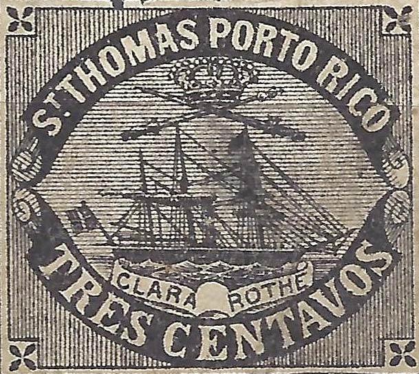 Puerto_Rico_1869_St.Thomas_Clara-Rothe_3c_Bogus_Forgery