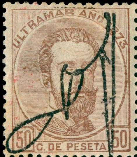 Puerto_Rico_1873_Cuban_Stamps_Surcharged_50c_Genuine