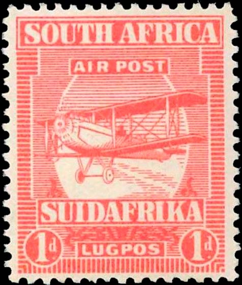 South_Africa_1925_Airmail_1d_Genuine