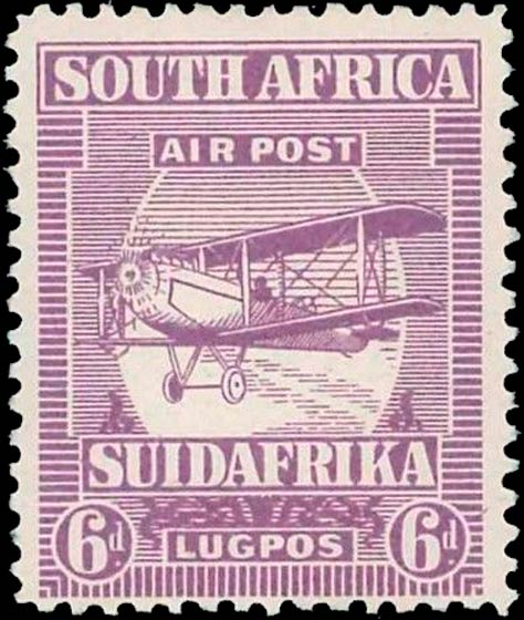 South_Africa_1925_Airmail_6d_Genuine