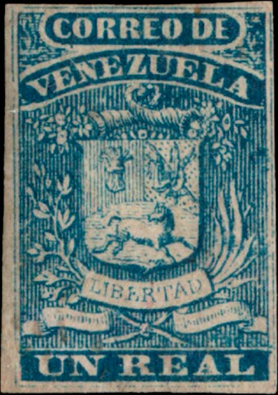 Venezuela_1859_Coat-of-Arms_Un_Real_Genuine