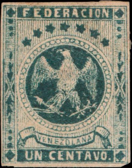 Venezuela_1863_Eagle_Un_Centavo_Genuine