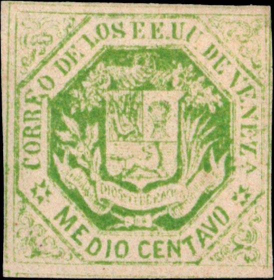 Venezuela_1865_Coat-of-Arms_Medio_Centavo_Genuine