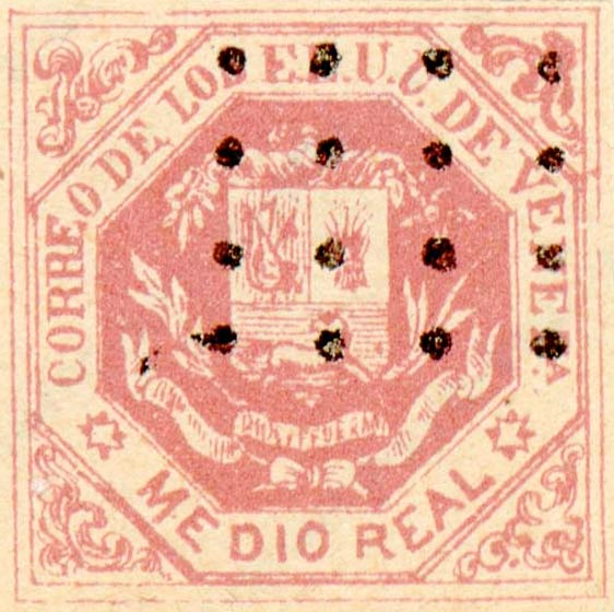 Venezuela_1865_Coat-of-Arms_Medio_Real_Fournier_Forgery