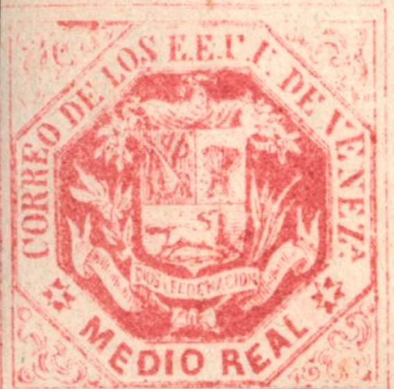 Venezuela_1865_Coat-of-Arms_Medio_Real_Genuine