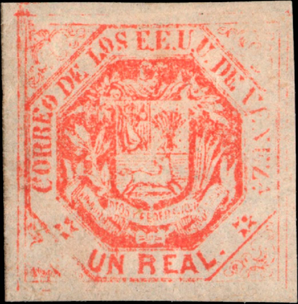 Venezuela_1865_Coat-of-Arms_Un_Real_Genuine