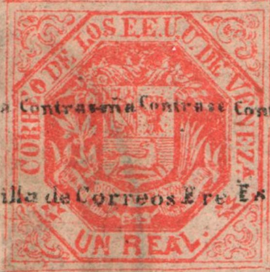 Venezuela_1865_Coat-of-Arms_Un_Real_Surcharged_Genuine
