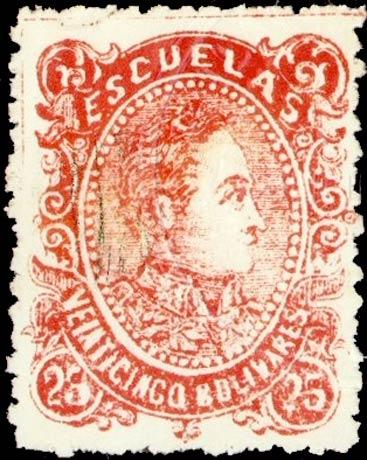 Venezuela_1880_Bolivares_25c_Postmark_Removed