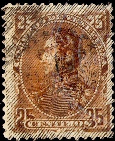 Venezuela_1893_Bolivar_25c_Forged_Overprint