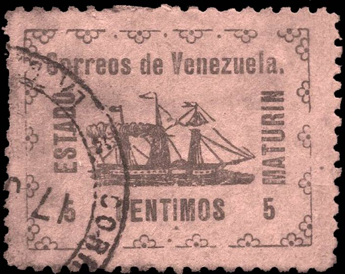 Venezuela_Guayana-and-Maturin_Sailship_5c_Forgery