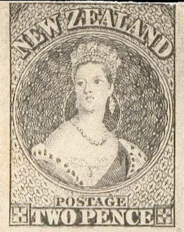 New_Zealand_1855_QV_Chalon_2p_1906_Reprint
