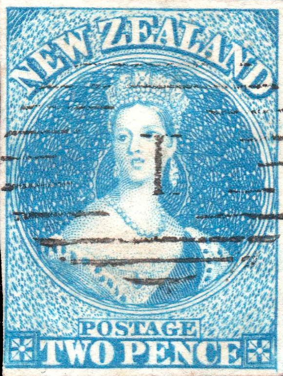 New_Zealand_1862_SG9_QV_Chalon_2p_Genuine